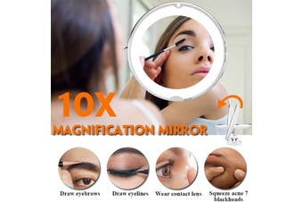 2PCS10x Magnifying Makeup Vanity Cosmetic Beauty Bathroom Mirror with LED Light