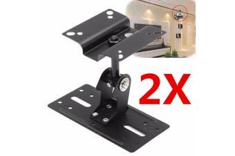 2PCS of 15kg Adjustable Steel Speaker Ceiling Wall Mount Brackets 360° ! !(black)(2pcs)