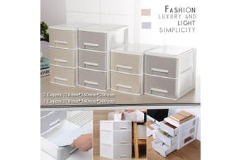 Large Plasic Makeup Box Organizer Desk Bathroom Cosmeic Sorage Drawer Case Jewellery Earing Storage Box(beige)(2 Layers 170x240x200mm)