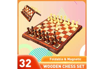 Travel Chess Wooden Set Folding Chessboard Magnetic Pieces Board Craft(S)