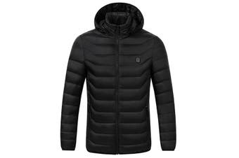 Winter new upgraded version of the back abdominal intelligent heating cotton clothing hooded electric heating coat jacket lovers XXXL(black)(XXXL)
