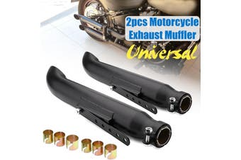 2Pcs 52.5cm 20in Universal Motorcycle Cafe Racer Exhaust Pipe For Bobbers Racing Bike(silver)(D)
