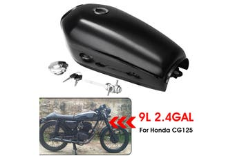 Motorcycle Cafe Racer Vintage Fuel Gas Tank With Tap Fit For Honda CG125 AA001(Glossy black)