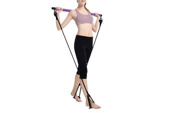 Portable Exercise Rope Pilates Bar Stick Fitness Yoga Gym Stick Resistance Bands(purple)(Pilaters Rod)