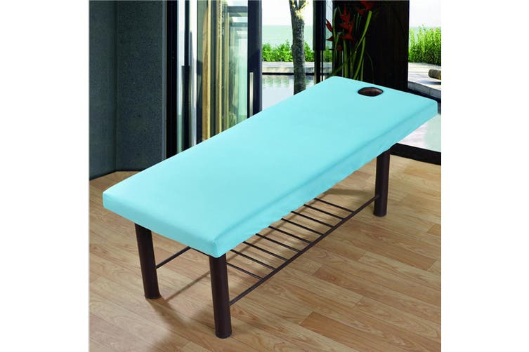 Massage Treatment Bed Cover Washable Polyester Cotton Table Sheet With Face Breath Hole(blue)(20W Solar Panel with Controller)