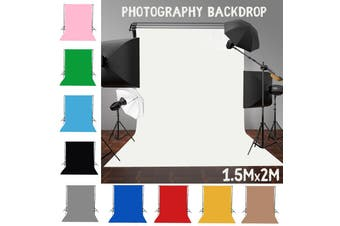 Free Shipping + Flash Deal 2m*1.5m Photography Backdrop Background Photo Stand Cotton Studio Photoprophy(10 Colors for Choice)(blue)(2 m)