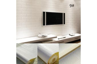 10Mx53CM Brick pattern White Textured Non-woven Flocking 3D Wallpaper Wall Paper Roll(white)(394x21inch)