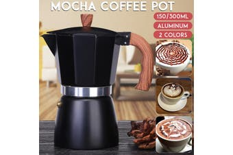 150ml/300ml Mocha Coffee Pot Italian Espresso Aluminum Mug Octagonal Coffee Pot Coffee Maker Tool(blue)(300 ml)