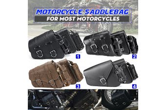 Left Side / Right Side 4 Type Black Universal Waterproof Motorcycle Saddlebag Saddle Tool Bag PU Leather(grey)(right)