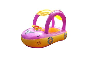 Inflatable Baby Float Seat Boat Adjustable Car Sunshade Swim Pool Swimming Ring(purple)(type3 (no pump))