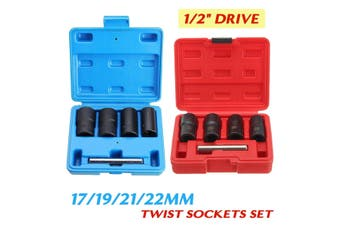 "5pcs Socket Set 1/2"" Drive 17mm 19mm 21mm 22mm Wheel Lock Nut Remover / Removal Tool(Red Box)"