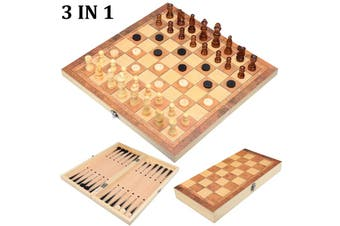 Folding Chessboard 3 IN 1 Wooden Chess Board Box Portable Game Toy Puzzle Set(style1)
