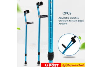 AU 2pc Folded Adjustable Underarm Forearm Elbow Crutches Walking Stick
