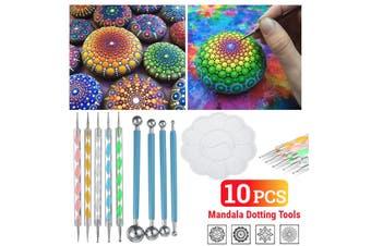 10Pcs Mandala Dotting Tools Set Rock Painting Kit Nail Art Pen Paint Stencil(10Pcs)