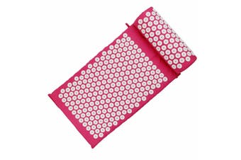 Massage Acupressure Mat Yoga Sit Lying Mats Cut Pain Stress Soreness Relax + Pillow(rosered)