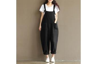 ZANZEA Clearance Womens Strap Dungaree Long Jumpsuit Playsuit Cotton Loose Pants Trousers Plus(black)(XL)