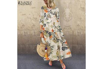 ZANZEA Summer Women 3/4 Sleeve Long Maxi Sundress Bohemian Printed Floral Dress(yellow)(5XL)