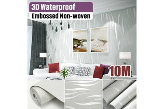 (No Glue) 10mx0.53m Modern Wall Art Non-woven 3D Wave Stripe Wallpaper Wall Sticker Home Decoration(silver)(Without Glue)
