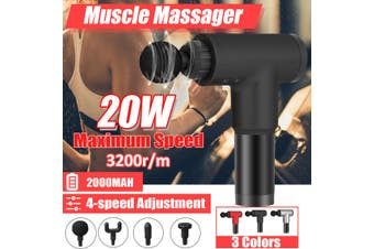 Massage Tool Deep Tissue Percussion Massager Muscle Vibration Relaxing Recovery(black)(US Plug)