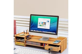 Adjustable Monitor Riser Stand Wooden Keyboard Mouse Holder Desk Organizer Storage(brown)(With lock)
