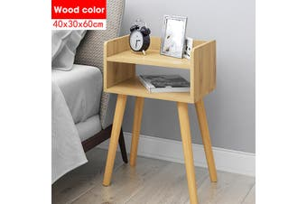 Wood Bedside Table MDF Nightstand Fiberboard Night Table Modern Bedroom Wooden Coffee Table Economical Minimalism(woodbrown)