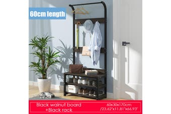 80CM/60CM Clothes Garment Rack Heavy Duty Hanger Closet Organizer Rail Shelf(black)(Type B 60cm)
