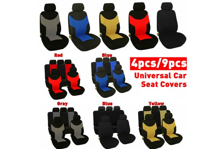 4PCS / 9PCS -- Car Seat Covers Full Seat Cover Universal Cushion Case Cover Front and Rear -- Black / Gray / Red / Blue / Yellow(black)(9 Pcs(Front Back Row))