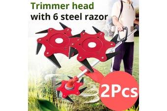 2Pcs 6 Steel Blades Razors 65Mn Lawn-Mower Grass Eater Trimmer Head Brush P(6 Blades 2PCS)