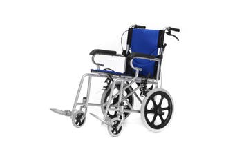 Folding Wheelchair 16 inch Manual Mobility Aid Light Weight 4 brakers(blue)