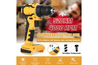 520Nm Cordless Dril without Battery 4000Rpm Electric Screwdriver Home Woodworking Power Tool Suitable for Makita 18V Battery(yellow)(520Nm)