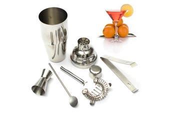 5Pcs 250ml Stainless Steel Drink Cocktail Shaker Jigger Mixer Spoon Strainer Ice Tongs Bartender Kit Bar Tool