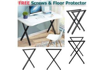 2x Industrial Steel Table Legs Stand Feet Trapezium X A Sandglass Shape Frame Dining/Bench/Office/Desk Legs Black【71x5x50cm】【Just Table legs!】(X shape (71x50cm))