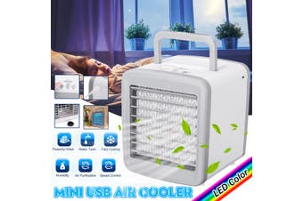 DC 5V USB Mini Air Conditioning Fan Humidifier Home Portable 7 COLOR LED Fan