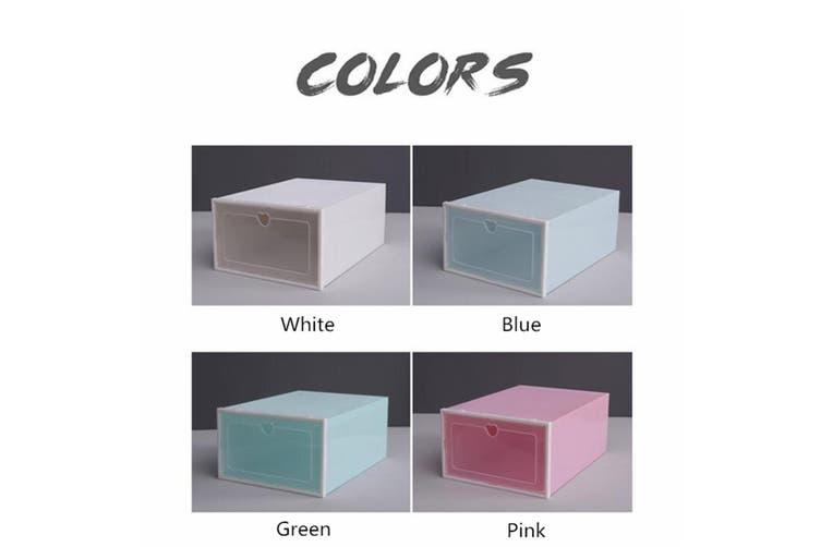 2/4/6PCS Foldable Storage Shoes Clear Plastic Shoe Boxes Storage Organizer Stackable Box(white)