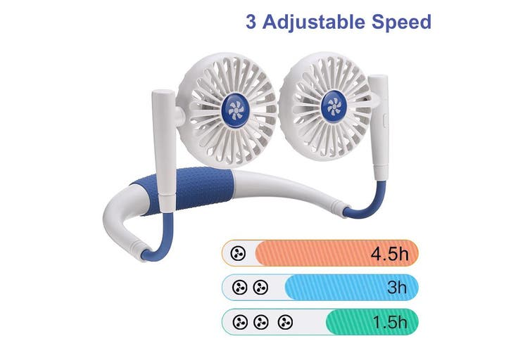 2020 Upgrade 360° Rotating Sports Hanging Neck Fan with Massage Function, 3 Speed Portable Electric Desktop Fan USB Rechargeable for Outdoor Event Travel(white)(White Blue Dual Fans)