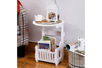 Coffee Round Beside Table Tea Lamp Plant Stand Modern Furniture w/ Tablecloth