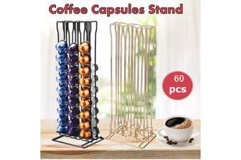 OASISWJ Nestle Coffee Capsule Nespresso Storage Display Stand Shelf Iron Wire Frame Sprayable 60 Holder(gold)(7 holds 60Pcs)