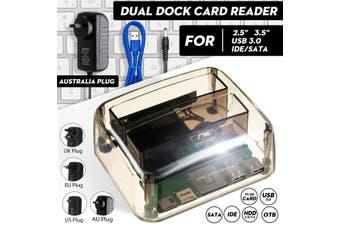 2.5/3.5'' USB 3.0 Dual Dock SATA IDE HDD Docking Station Hard Drive Card Reader Computer Accessories UK US AU EU Plug(AU Plug)