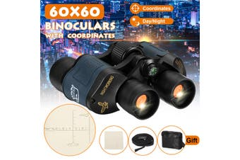 60X60 Optical Binoculars Night Vision 3000M Militar Coordinates Camping(With compass)