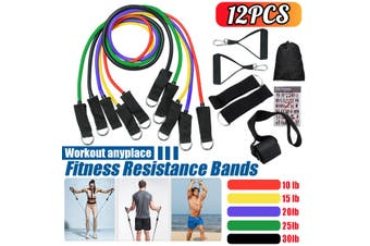 12Pcs/Set Upgrade 100lb Natural Rubber Latex Fitness Tubes Resistance Bands Workout Exercise Yoga Sport Gym Elastic Training Rope Pull String(Type B 11PCS)