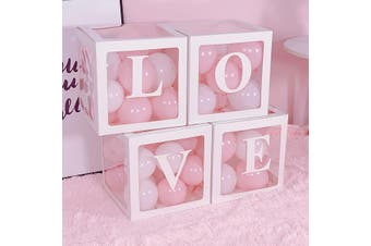 LOVE BOXDIY Transparent Box Latex Balloon BABY LOVE Blocks for Boy Girl Baby Shower Wedding Birthday Party Decoration Backdrop(white)(LOVE)