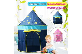 Portable Foldable Children Princess Castle Play House Indoor Outdoor Kids Play Tent Home Parks(blue)