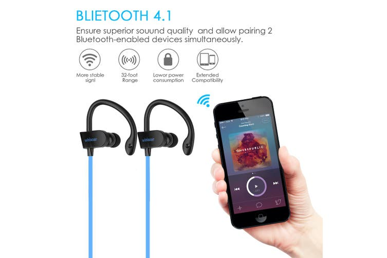 bluetooth 4.1 Wireless Headphone Sports Neckband Wifi Earphone Stereo Headset Waterproof For IPhone for Samsung for LG(blue)