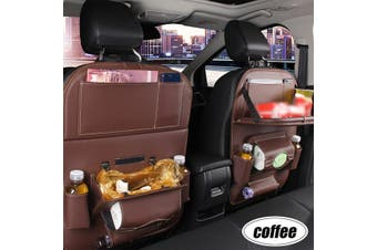 1pc Car Seat Back PU Leather Organizer Tidy Pocket Storage Bag Holder Table Travel(coffee)