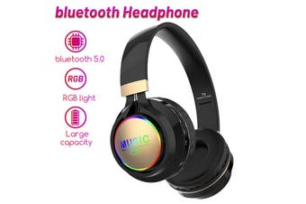 LED Wireless bluetooth Headphone Folding Noise Cancelling Stereo Headset(black)(newest bluetooth 5.0)
