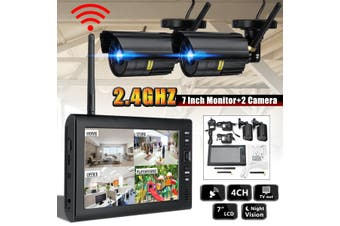 7'' LCD Monitor DVR Motion Digtal Wireless CCTV Camera Home Security System