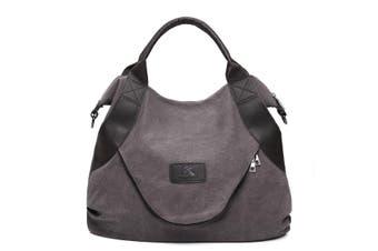 Large Pocket Casual Women Shoulder Cross body Handbags Canvas Leather Bags(grey)(Gray)
