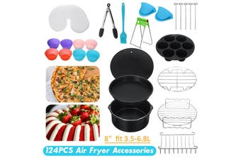【124pcs】(For 3.5L-6.8L Air Fryers) All-in-one 8inch Air Fryer Accessories Rack Cake Pizza Oven Barbecue Frying Pan Tray Frying Cage Dish Baking Pan Rack Pizza Tray Pot Tool