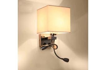 220V E27 LED Wall Light Indoor Modern Aisle Bedside Wall Lamp + 2 Light Heads(white)