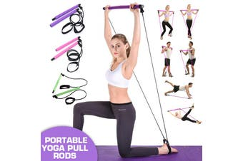 Multi-functional Yoga Pull Rods Portable Gym Pilates Bar with Resistance Band for Chest-expanding Fitness Workout(pink)(Pilates Rod)